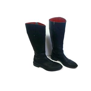Trask Dillon Leather Black Calf Length Boots 7.5
